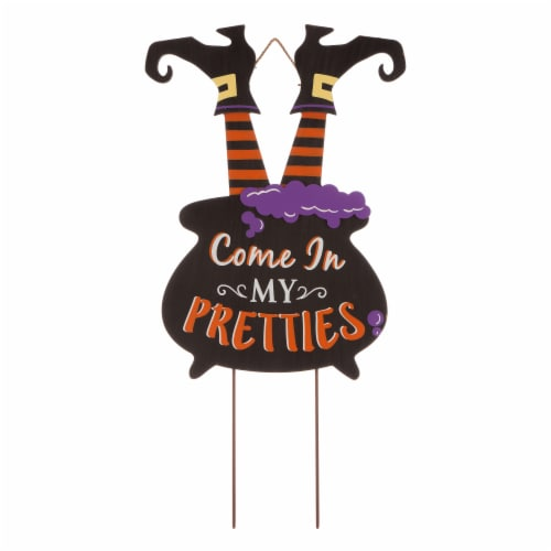 Glitzhome Halloween Wooden Witch Yard Stake Decor Perspective: front