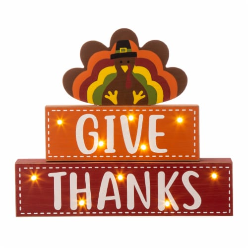 Glitzhome Wooden Lighted Thanksgiving Turkey Wood Block Table Decoration Perspective: front