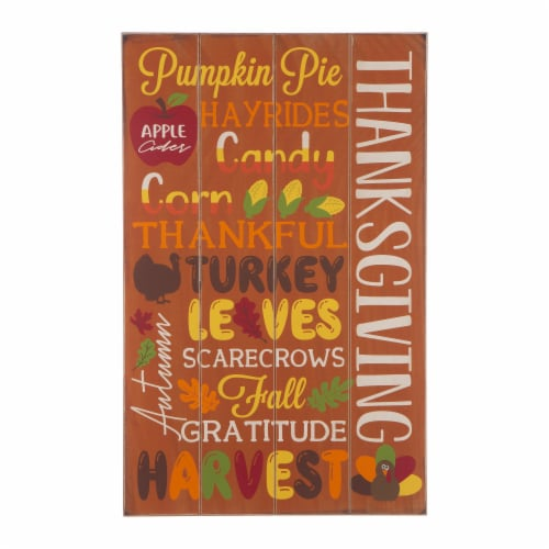 Glitzhome Thanksgiving Wooden Sign Wall Decoration Perspective: front
