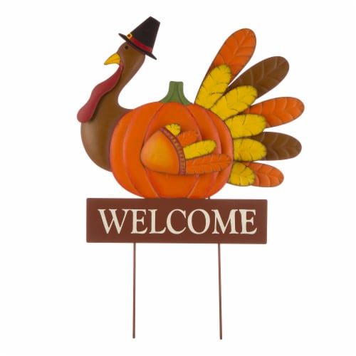 Glitzhome Metal Thanksgiving Turkey Yard Stake/Wall Decoration Perspective: front
