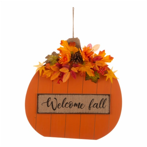 Glitzhome Wooden Fall Pumpkin with Floral Standing/Hanging Decoration Perspective: front