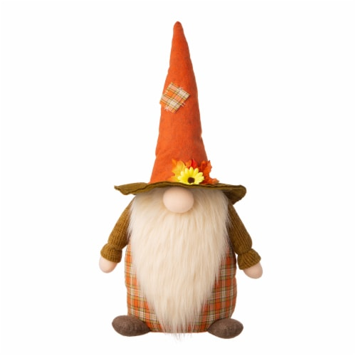 Glitzhome Fabric Fall Gnome Standing Decoration Perspective: front