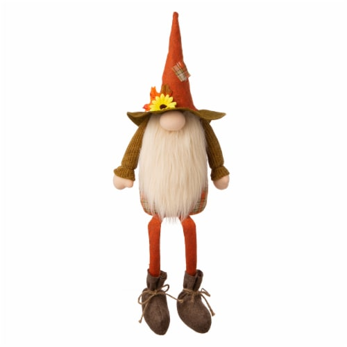 Glitzhome Fabric Fall Gnome Shelf Sitter Decoration Perspective: front