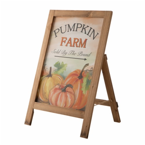 Glitzhome Wooden Fall Pumpkin Farm Porch Standing Sign Perspective: front