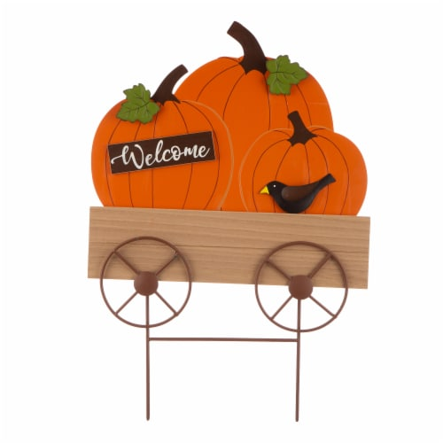Glitzhome Metal & Wooden Fall Pumpkin Cart Yard Decoration Perspective: front