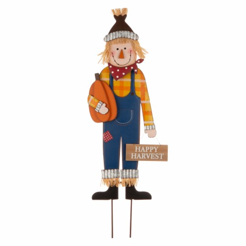 Glitzhome Metal Fall Scarecrow Yard Decoration Perspective: front