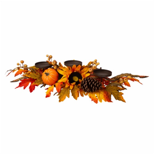Glitzhome Sunflower Floral Metal Candle Holder Center Piece Perspective: front