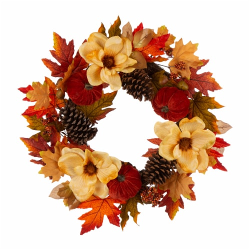 Glitzhome Blooming Magnolia Wreath with Velvet Pumpkin & Pinecone Perspective: front