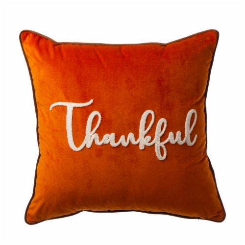 Glitzhome Velvet Thankful Embroidered PIllow Cover Perspective: front