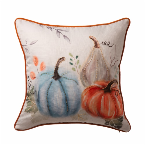 Glitzhome Faux Burlap Harvest Fall Pumpkin Pillow Cover Perspective: front