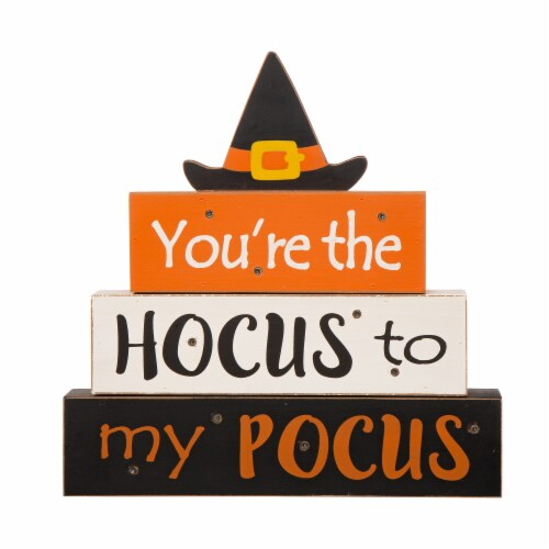 Glitzhome Halloween Wooden Lighted Witch/Word Block Table Décor Perspective: front