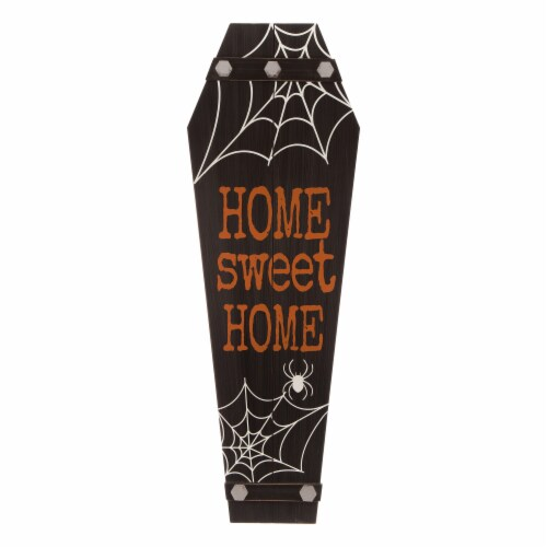 Glitzhome Halloween Wooden Coffin Porch Decor Perspective: front