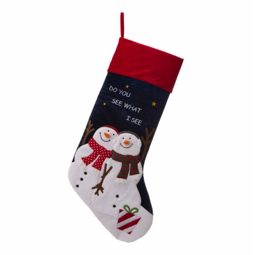 Glitzhome Velvet Do You See What I See Snowmen Oversized Stocking Perspective: front