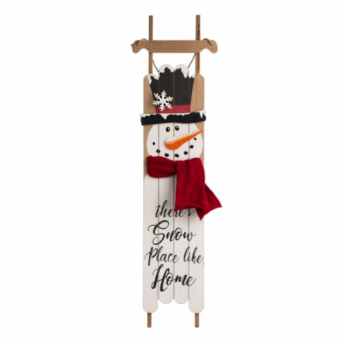 Glitzhome Wooden Christmas Snowman Porch Sign Decor Perspective: front