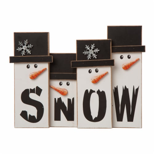 Glitzhome Wooden Christmas Snowman Family Table Decoration Perspective: front