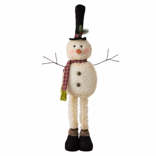 Glitzhome Telescoped Fabric Christmas Snowman Standing Decor Perspective: front