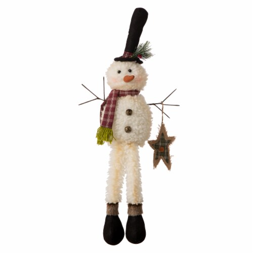 Glitzhome Fabric Christmas Snowman Shelf Sitter with Dangling Legs Perspective: front