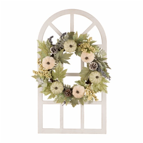 Glitzhome Wooden Fall Pumpkin and Pinecone Window Frame Wreath Perspective: front