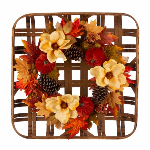 Glitzhome Blooming Magnolia Bamboo Tobacco Basket Wreath Perspective: front