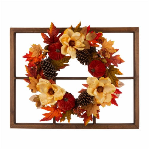 Glitzhome Blooming Magnolia Wooden Window Frame Wreath Perspective: front