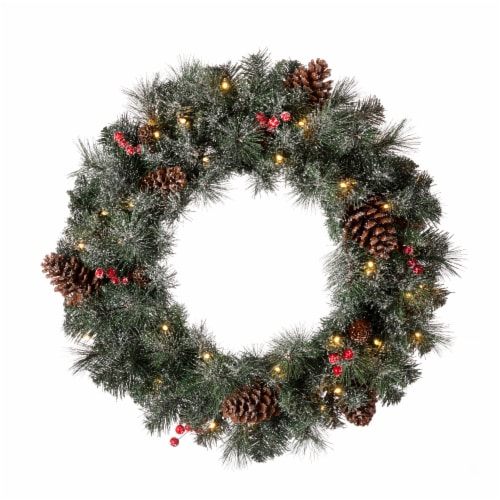 Glitzhome Glittered Pine Cone Christmas Wreath with Warm White LED Lights Perspective: front