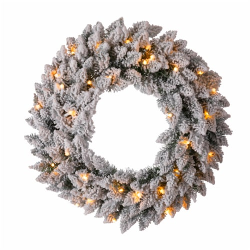Glitzhome Pre-Lit Warm White LED Snow Flocked Christmas Wreath Perspective: front
