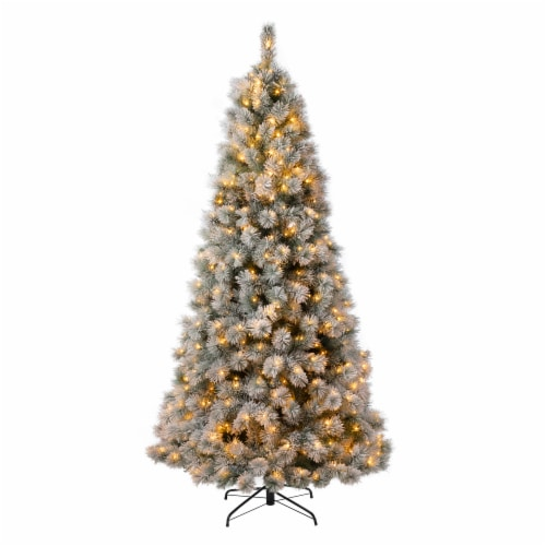Glitzhome Snow Flocked Artificial Spruce Christmas Tree with Warm White Lights Perspective: front