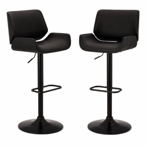 Glitzhome Mid-century Modern Swivel Bar Stools - Black Perspective: front
