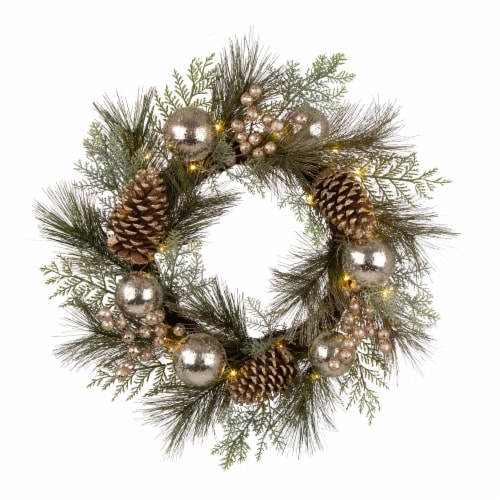 Glitzhome Pre-Lit Berry Holly & Pine Cone Silver Ornament Wreath Perspective: front