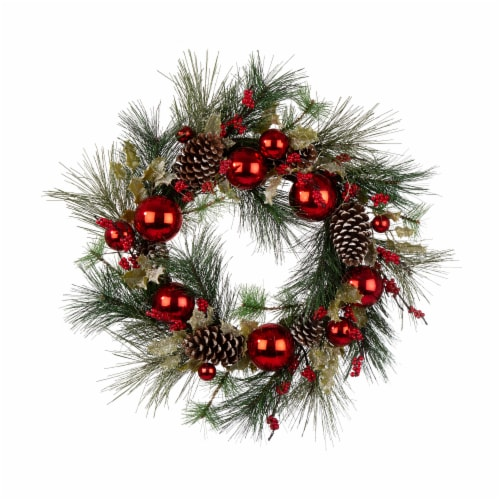 Glitzhome Pinecone & Ornament Wreath with LED Lights - Red Perspective: front