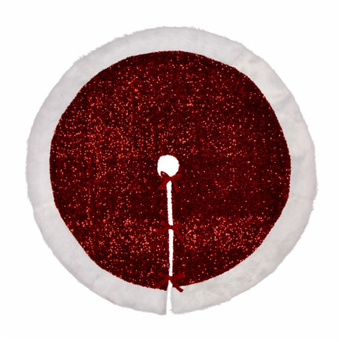 Glitzhome Sequin Christmas Tree Skirt - Red/White Perspective: front
