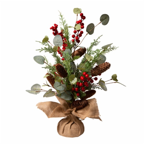 Glitzhome Christmas Floral Table Tree Decoration Perspective: front
