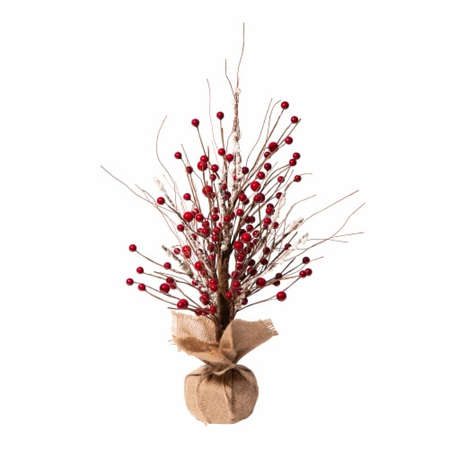 Glitzhome Rustic Christmas Berry Table Tree Decoration - Red Perspective: front