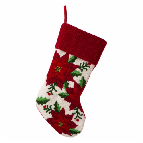 Glitzhome Poinsettia Stocking Perspective: front