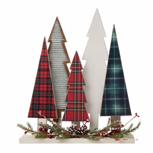 Glitzhome Plaid Wooden Christmas Tree with Pinecone Table Decoration Perspective: front