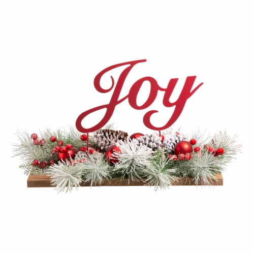 Glitzhome Christmas Joy Floral Center Piece Table Decor Perspective: front