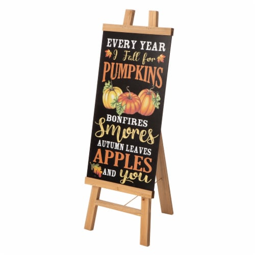 Glitzhome Double Sided Wooden Easel Porch Sign Perspective: front