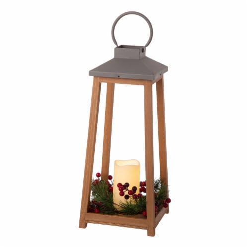 Glitzhome Wooden Metal LED Pillar Lantern Perspective: front