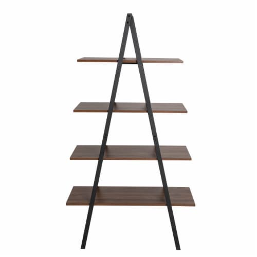 Glitzhome Metal & Wooden 4-Tier Bookcase and Ladder Shelves - Black / Walnut Perspective: front