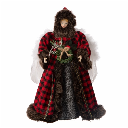 Glitzhome Plaid Angel Tree Top Figurine Perspective: front