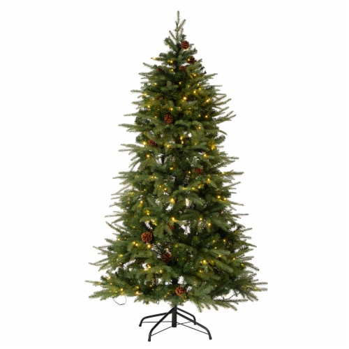 Glitzhome Artificial Fir Christmas Tree with LED Lights - Green Perspective: front
