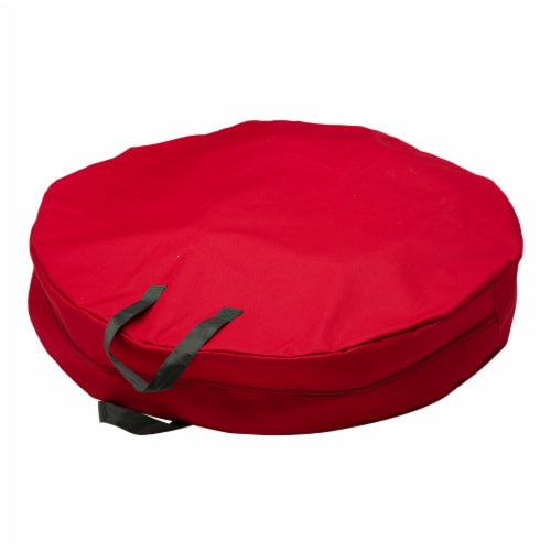 Glitzhome Canvas Christmas Wreath Storage Bag with Zipper - Red Perspective: front