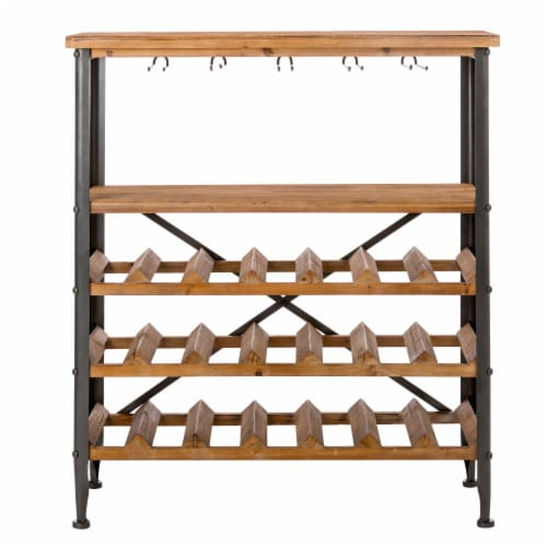 Glitzhome Vintage Wooden Wine Bottle and Glass Rack Perspective: front