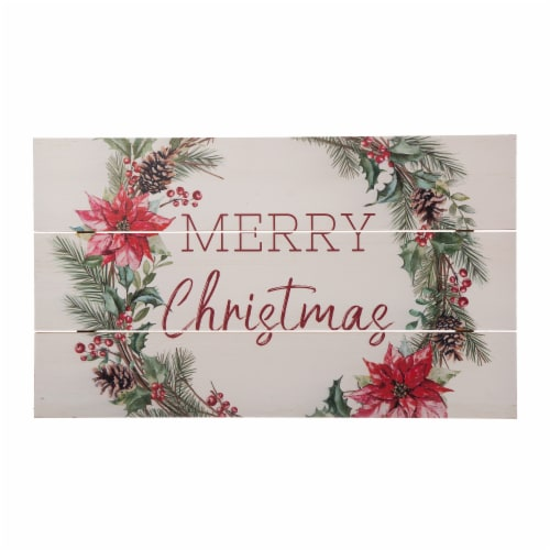Glitzhome Wooden Merry Christmas Wall Decoration - White/Red Perspective: front
