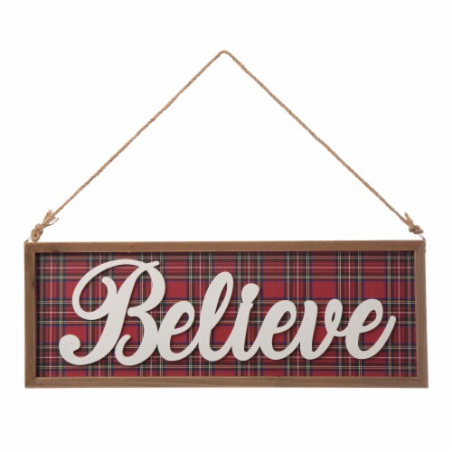 Glitzhome Wooden Double Sided Peace & Believe Wall Decoration Perspective: front