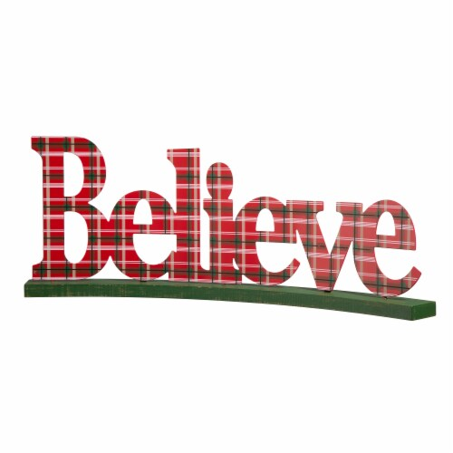 Glitzhome Plaid Wooden and Metal Believe Table Decor - Red/Green Perspective: front