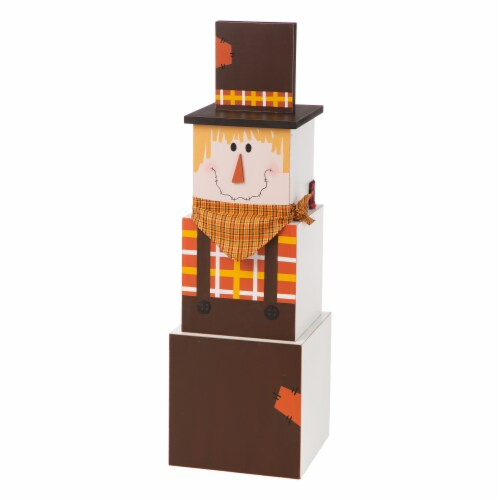 Glitzhome Wooden Double-Sided Snowman/Scarecrow Porch Decor Perspective: front