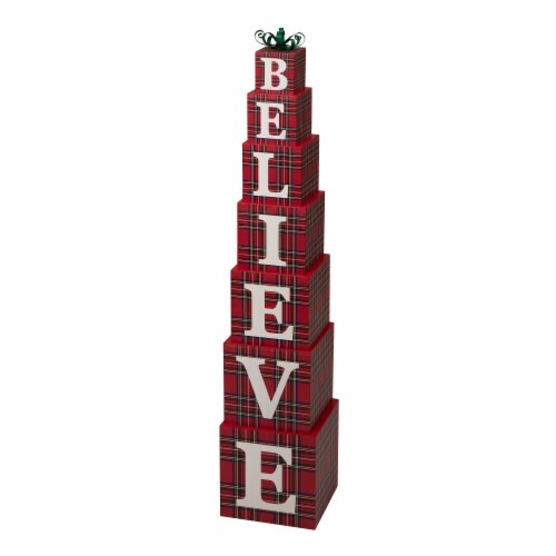 Glitzhome Wooden Double Sided Believe Porch Decor - Red Perspective: front