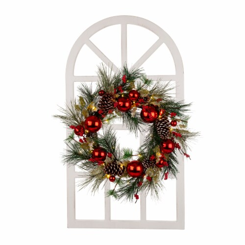 Glitzhome Wooden Window Frame & Pre-Lit LED Prinecone & Ornament Wreath Perspective: front