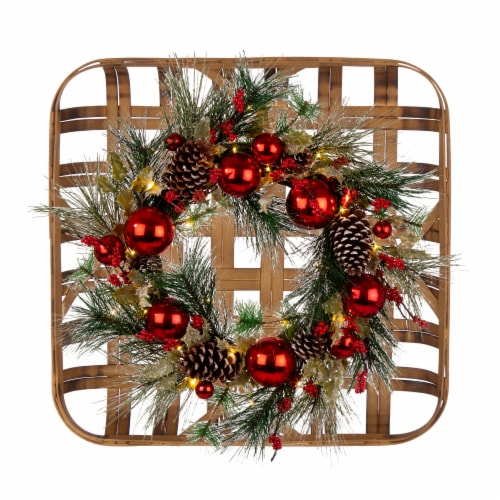 Glitzhome Wooden Window Frame & Pre-Lit LED Pinecone & Ornament Wreath Perspective: front